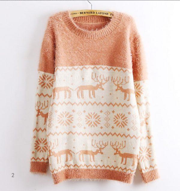 pink oversize christmas sweater bmodish
