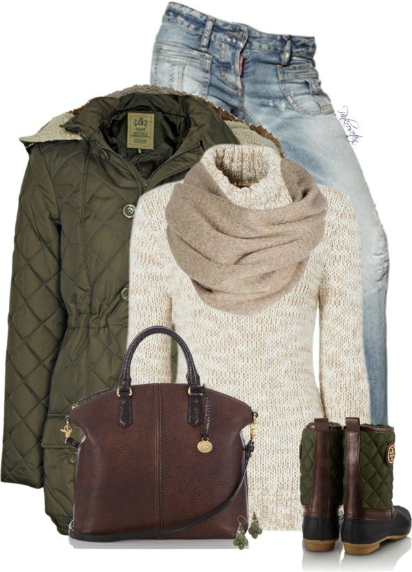 quilted puffy parka polyvore winter outfit bmodish