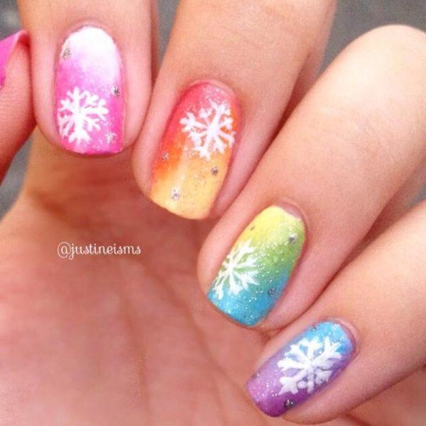 rainbow gradient snowflakes nailart bmodish