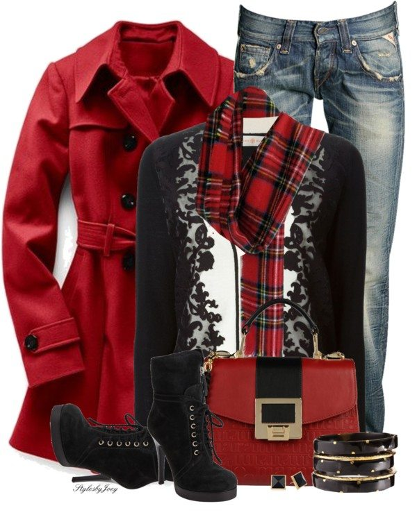 red hot trench coat with jeans winter outfit bmodish