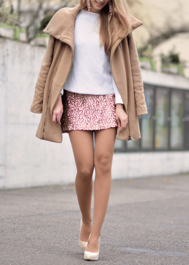 sequin mini skirt new year outfit idea bmodish