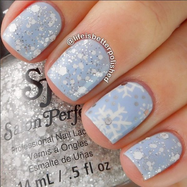 soft blue and glitter snowflakes nails bmodish