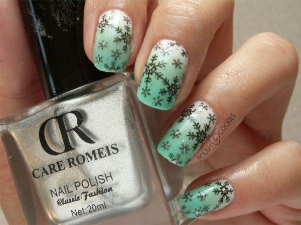 stamping snowflakes nails bmodish
