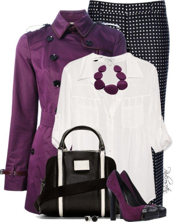 stylish way how to wear purple trench coat polyvore outfit bmodish
