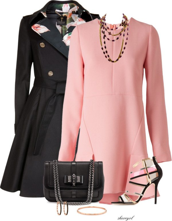 trench coat with pink dress outfit bmodish