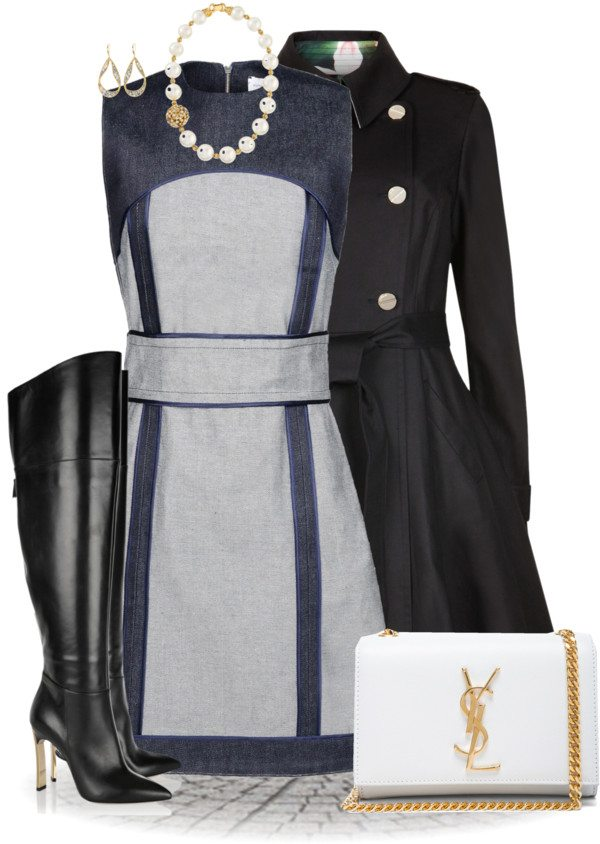 victoria beckham dress with ted baker trench coat outfit bmodish