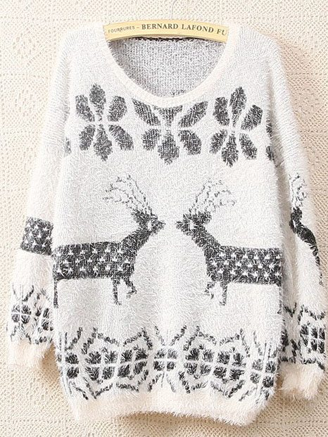 white-christmas-deer-snow-flower-loose-pullover-uglysweaters-bmodish
