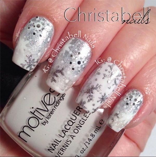 white snowflakes nailart bmodish