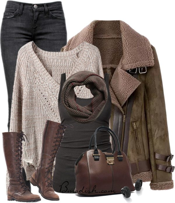 winter outfit with shearling jacket bmodish