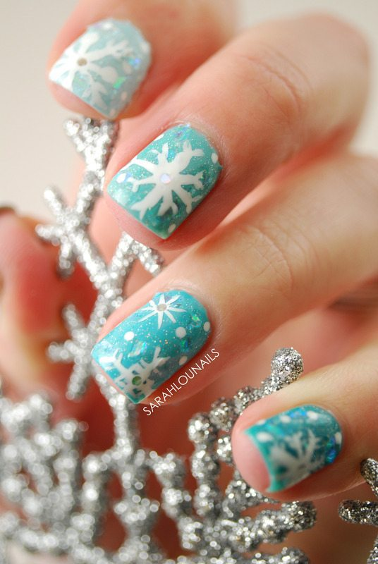 winter snowflakes nail art 2 bmodish