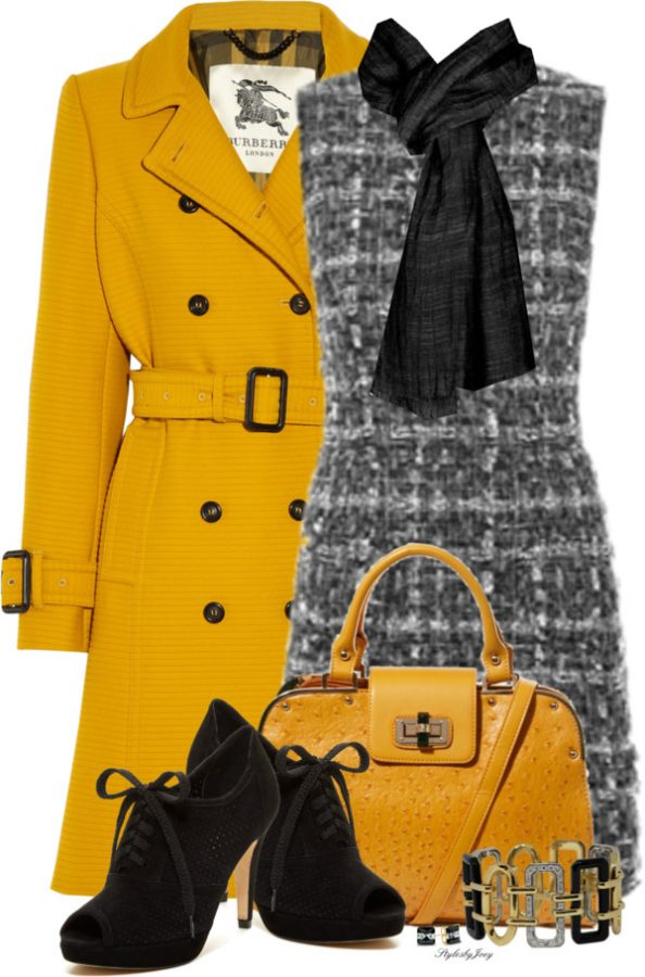 yellow trench and tweed fall winter outfit bmodish