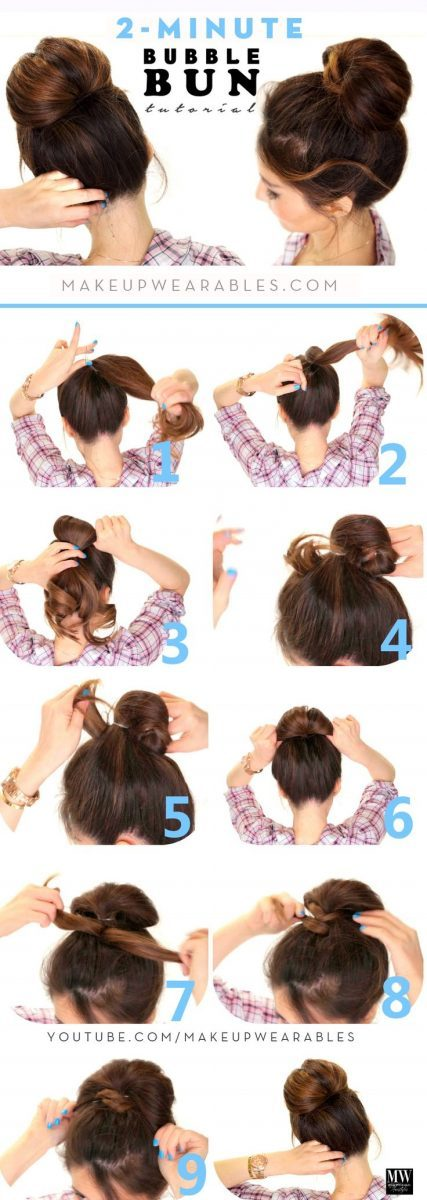 14 Simple Hair Bun Tutorial To Keep You Look Chic In Lazy