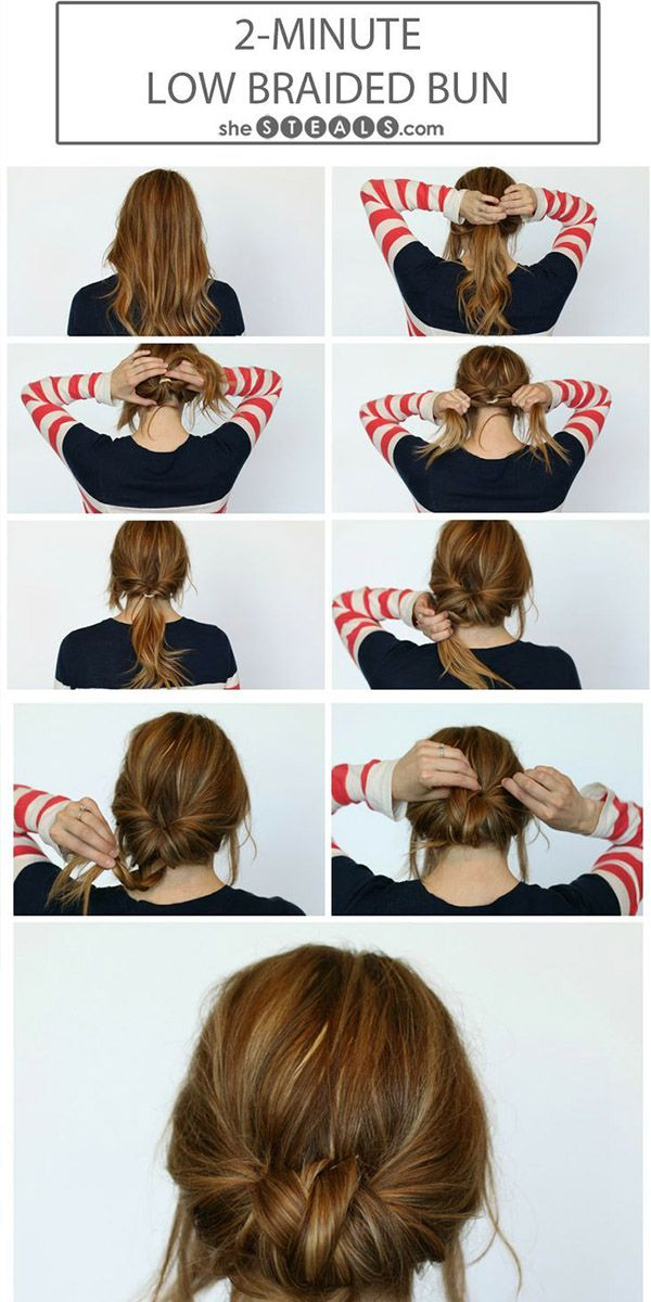 2 minuten low braided bun hairstyle via bmodish