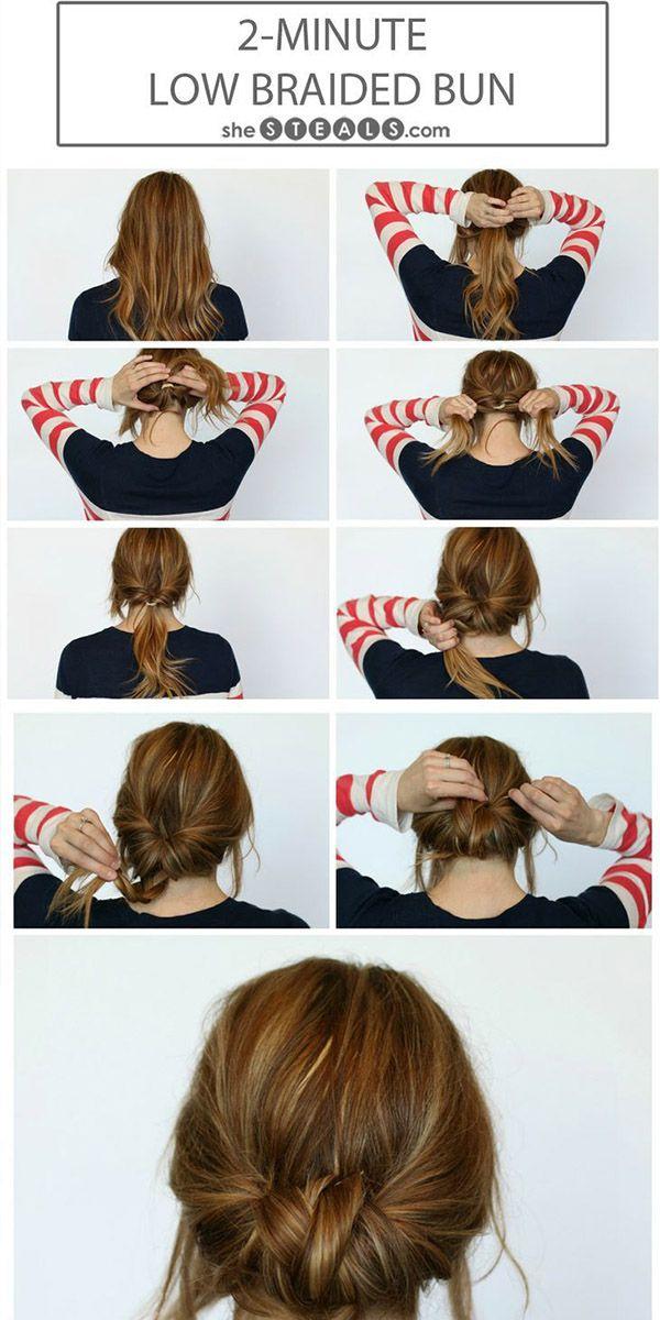 2 minuten low braided bun hairstyle via bmodish