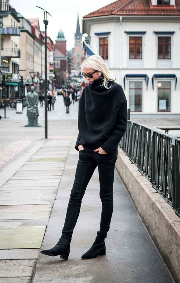 Black oversized turtleneck outfit bmodish