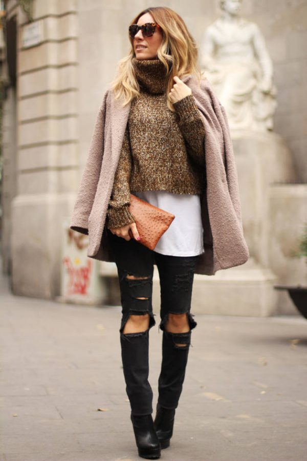 Camel Cropped Knit Turtleneck outfit bmodish
