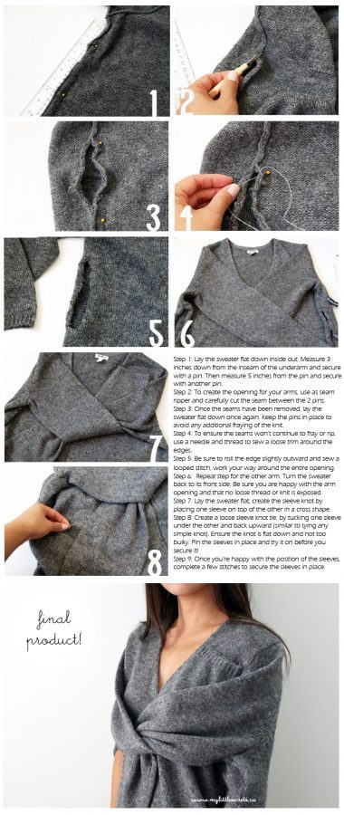 DIY Celine Inspired Faux Sleeve Tie Wrap Sweater bmodish