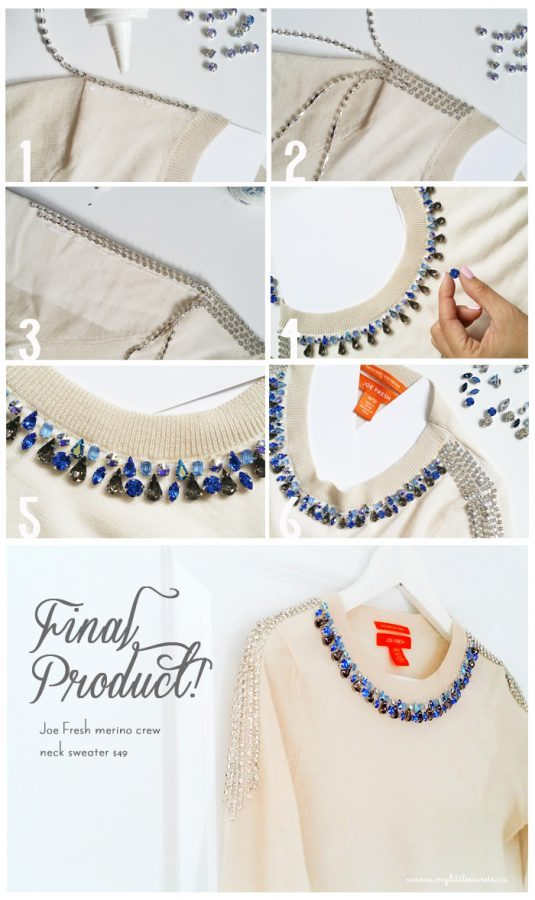 DIY Joe Fresh Jeweled Sweater Tutorial via bmodish