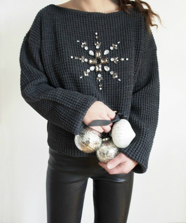 DIY Mandala Embellished Holiday Sweater Refashion via bmodish