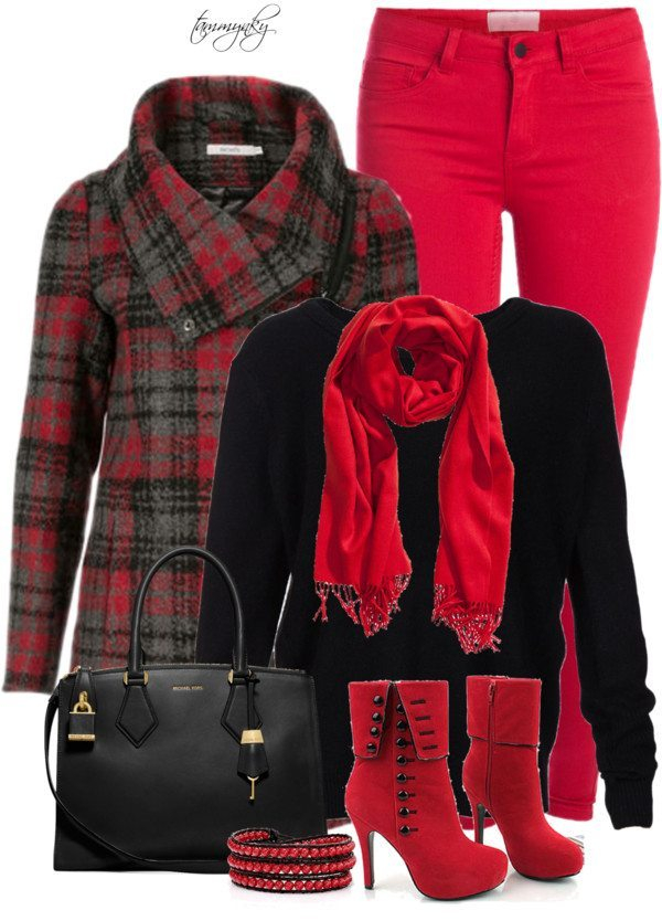Red and black stylish winter outfit bmodish