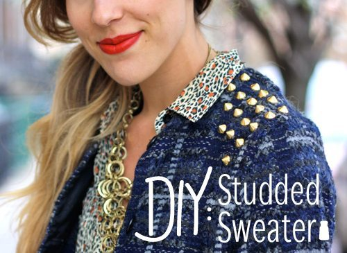 Studded-Sweater diy via bmodish