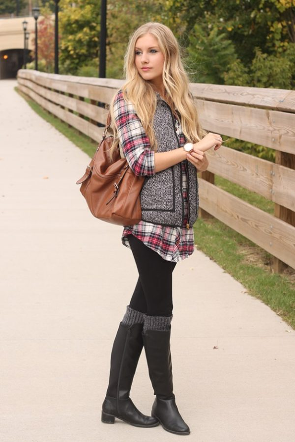 tweed vest with plaid shirt casual fall outfit bmodish