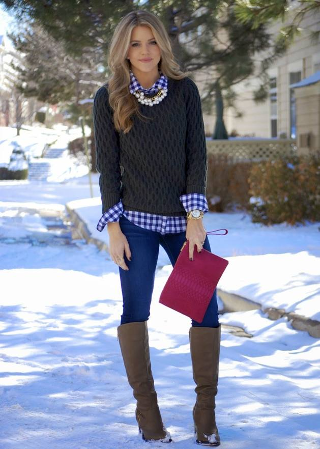 blue and white gingham shirt casual fall winter outfit bmodish