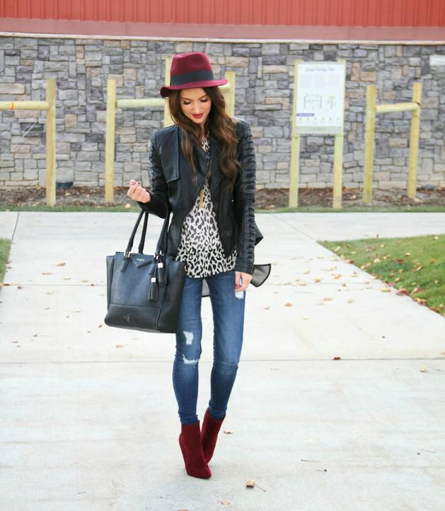 burgundy booties simple fall winter style bmodish