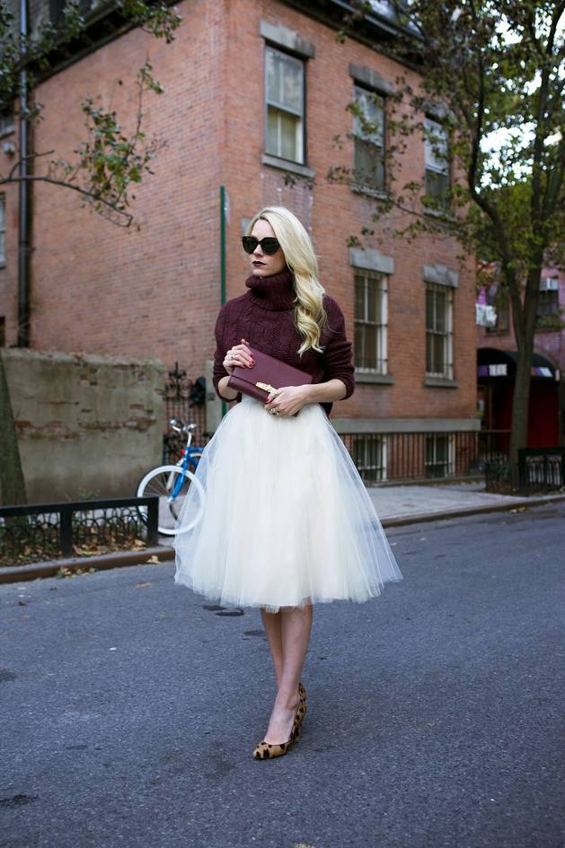 burgundy turtleneck sweater with tulle skirt bmodish