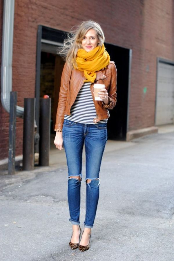 cognac leather jacket mustard scarf fall winter style bmodish