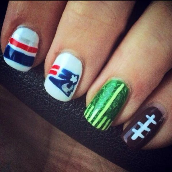 cool super bowl nail art bmodish