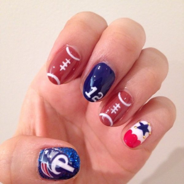 cute nail art for the super bowl bmodish