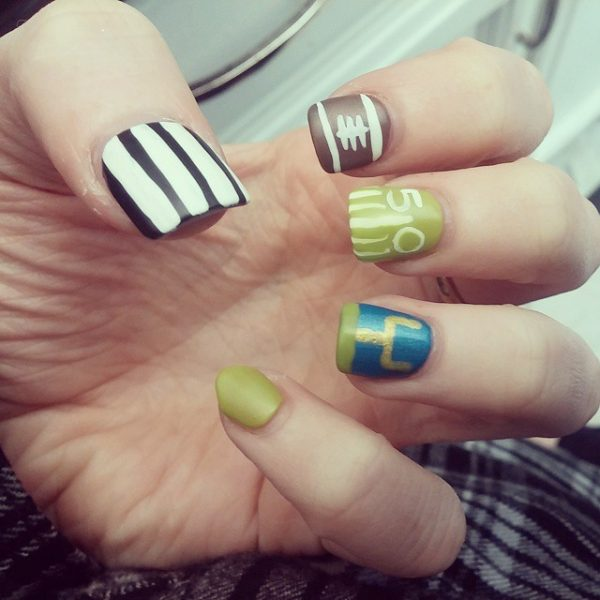 cute super bowl nails bmodish