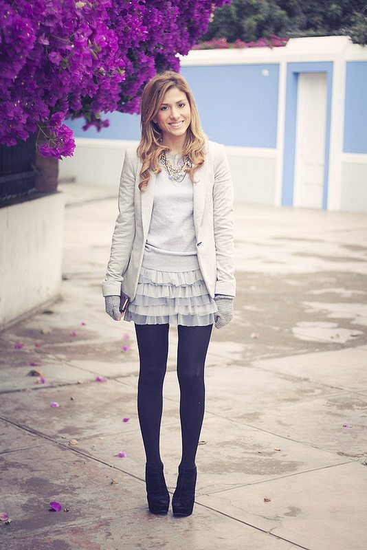 cute way how to wear skirt in winter outfit bmodish