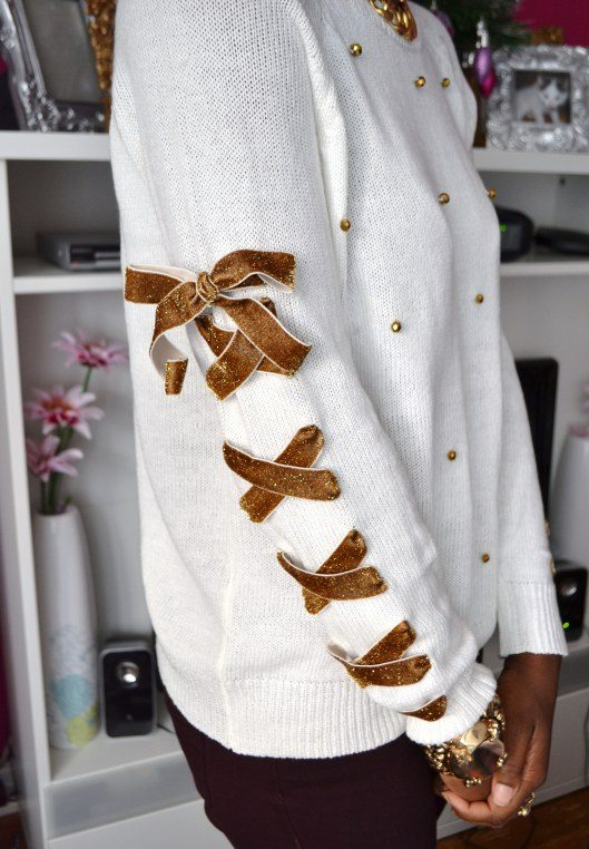 diy lace up ribbon embellish sweater via bmodish