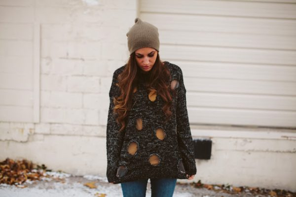diy knit sweater polka dots via bmodish