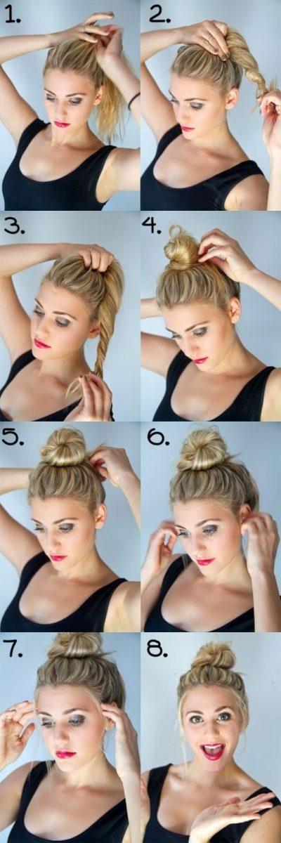 easy and quick twist hair bun tutorial via bmodish