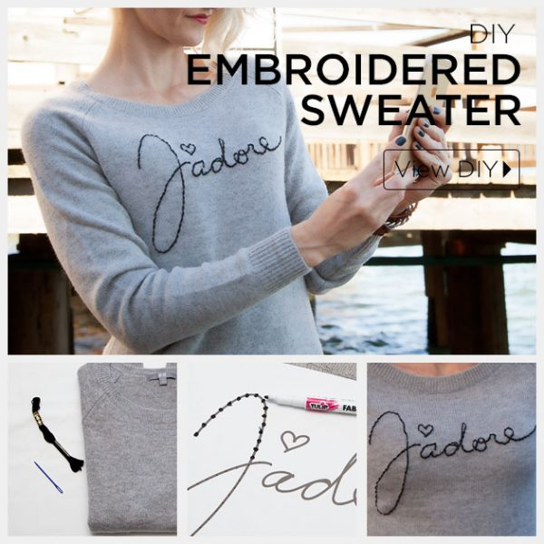 embroidered sweater diy via bmodish
