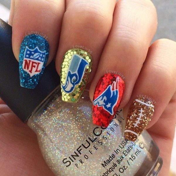 glam glitter super bowl nail art bmodish