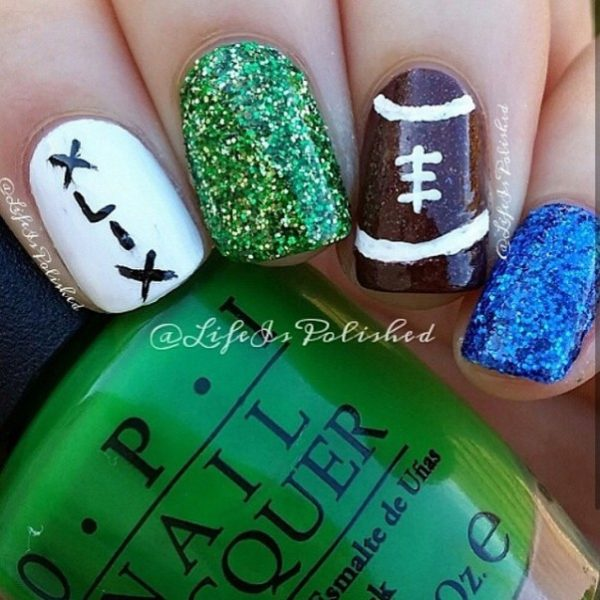 glitter football super bowl nail art bmodish