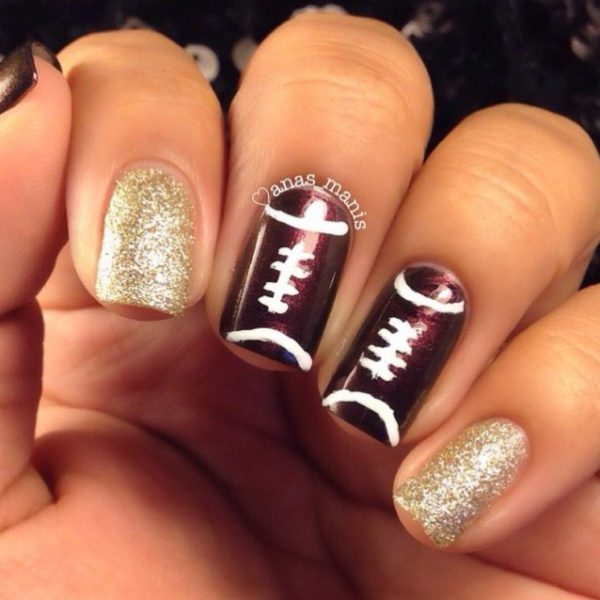 gold glitter super bowl nail art bmodish
