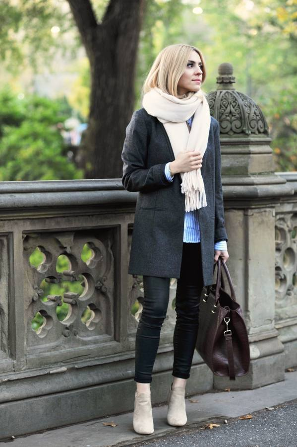 grey coat casual fall winter outfit bmodish