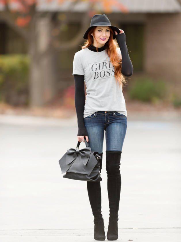 grey printed shirt simple fall outfit bmodish