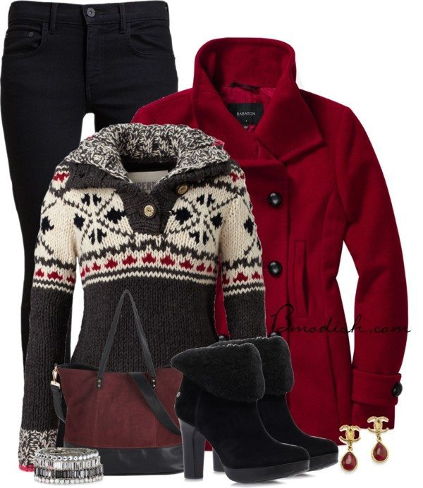 red peacoat winter outfits polyvore