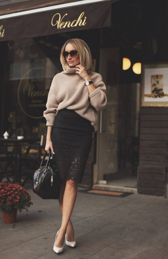 how to wear lace midi skirt with turtleneck sweater in fall and winter
