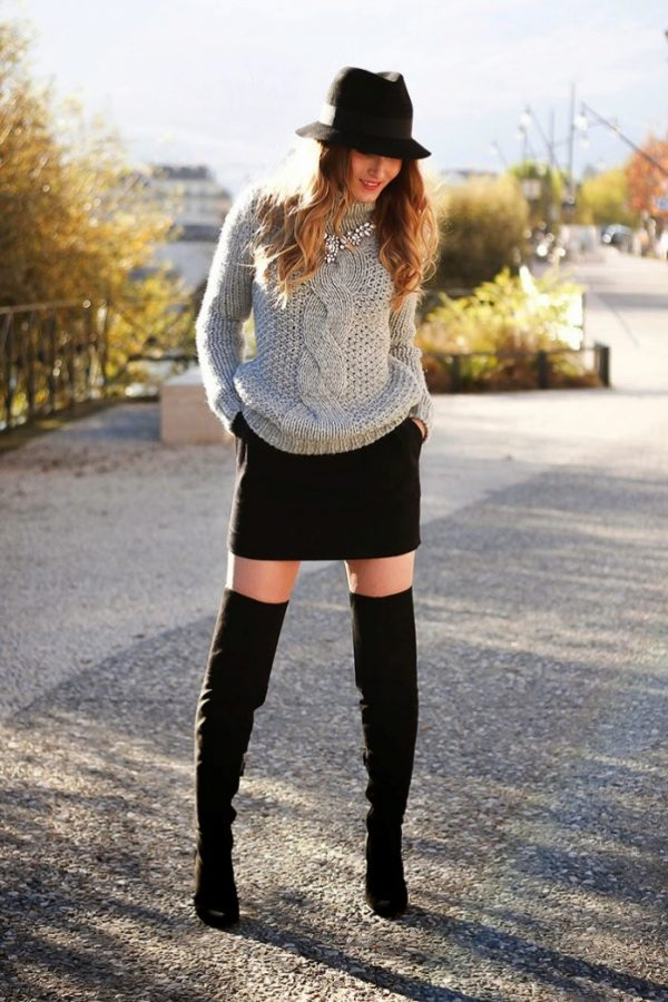 how to wear mini skirt with sweater in winter
