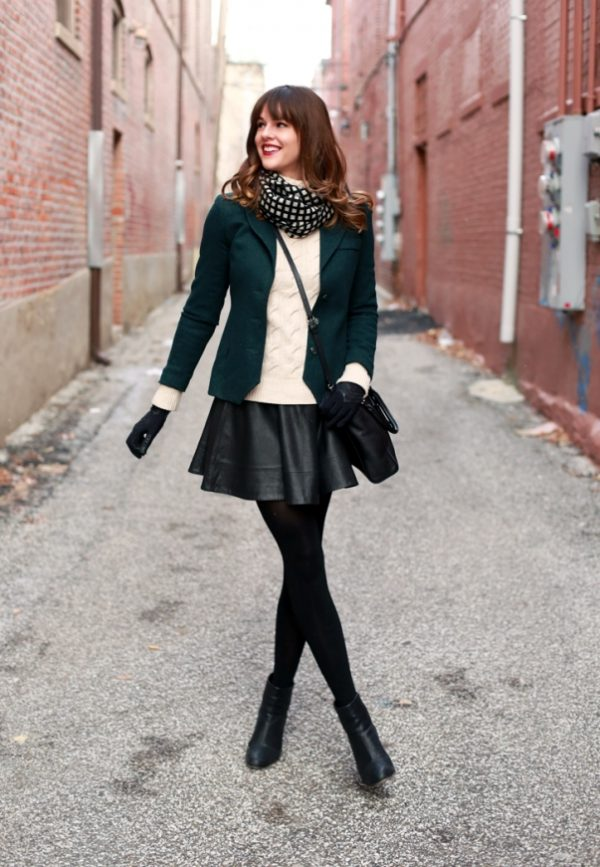 how to wear leather mini skirt in winter