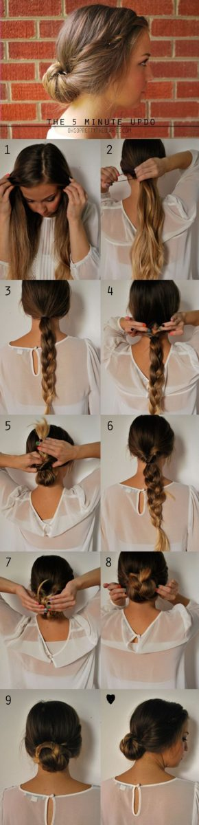 low braided bun tutorial via bmodish