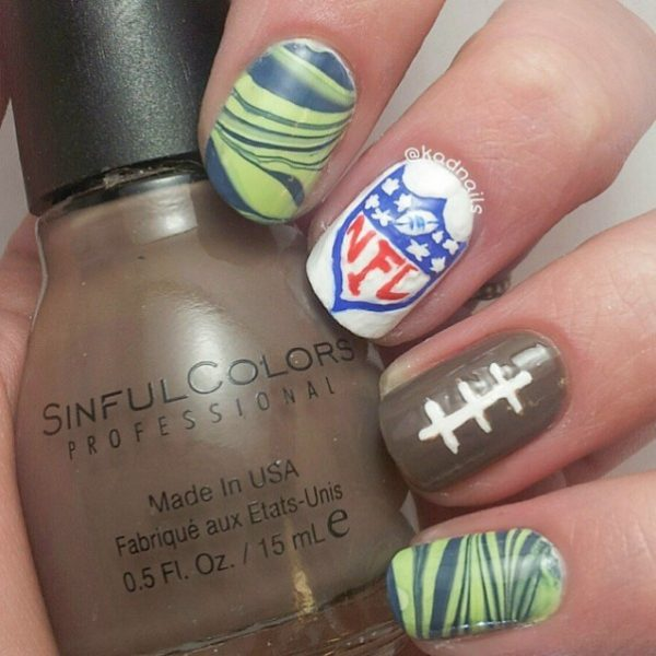 nfl super bowl nail art bmodish