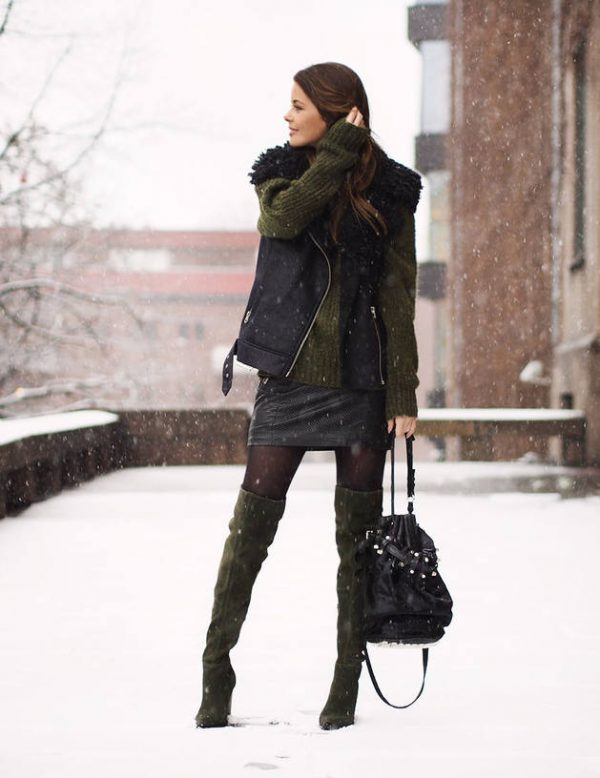 olive green sweater with mini skirt and over the knee boots winter outfit bmodish
